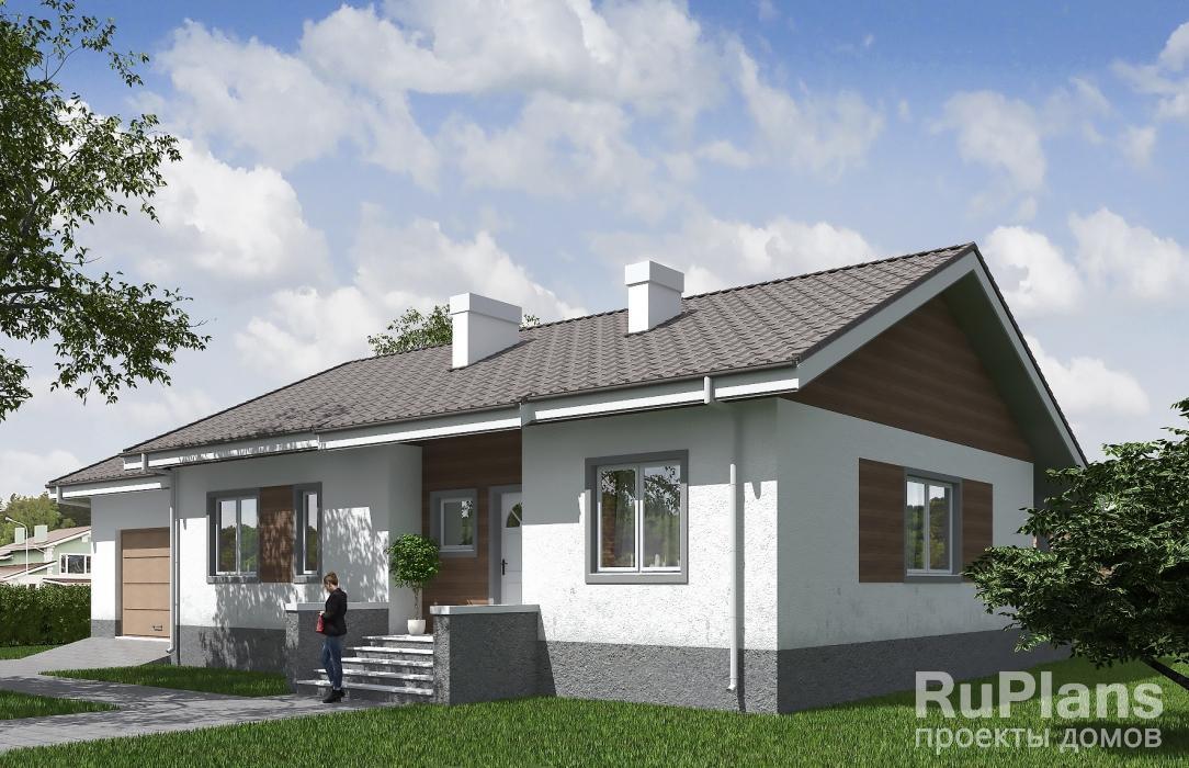 Rg5513 — проект одноэтажного дома с гаражом, погребом и террасой