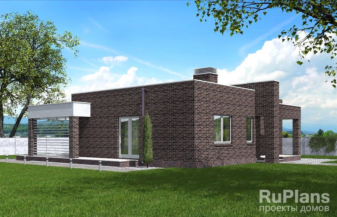 Rg5325 — проект одноэтажного дома с подвалом и террасой