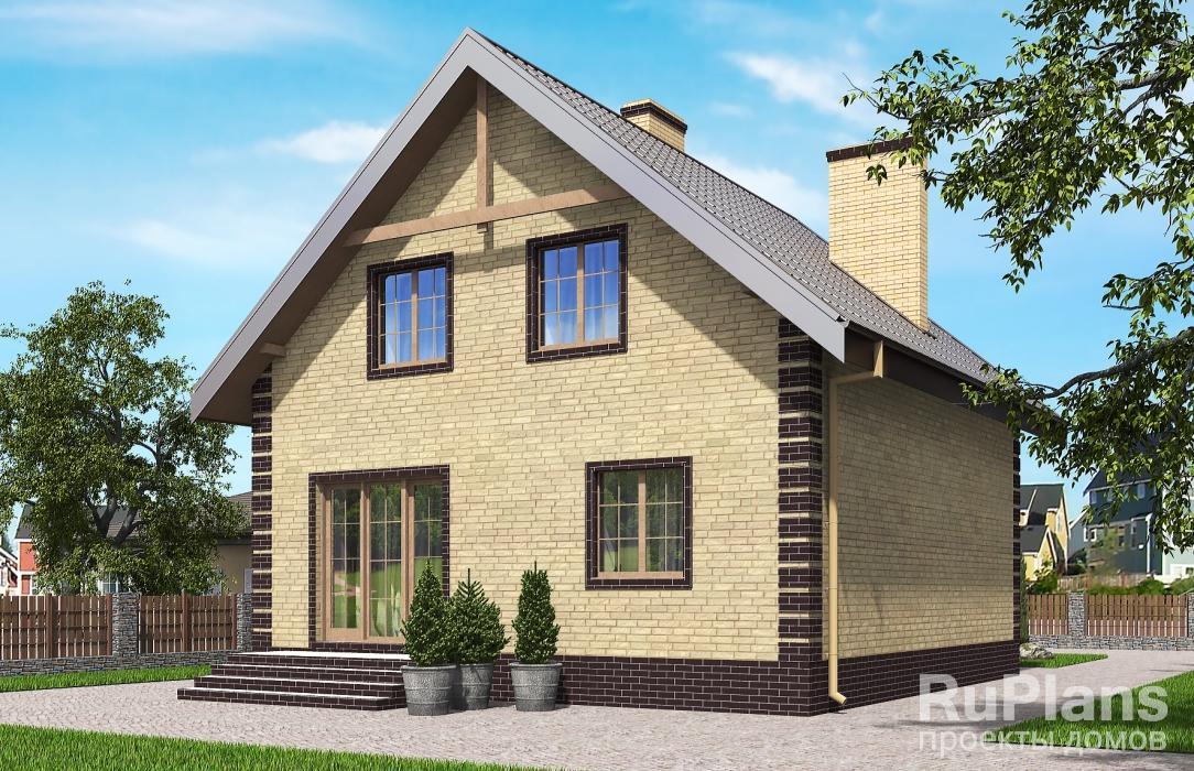 Rg5633 — проект одноэтажного дома с мансардой, эркером и балконами
