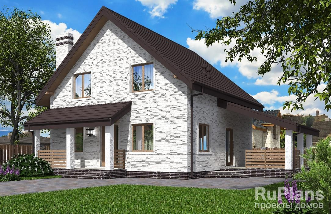 Rg5619 — проект одноэтажного дома с мансардой и террасой