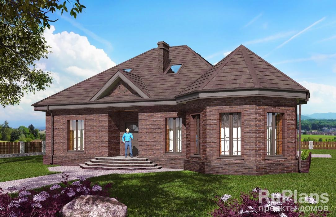 Rg5599 — проект одноэтажного дома с мансардой, террасой и зимним садом