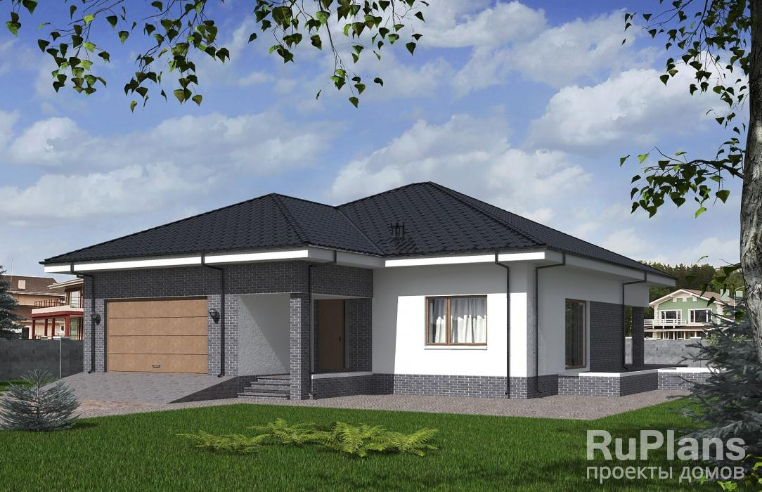 Rg5292 — проект одноэтажного дома с террасой и гаражом