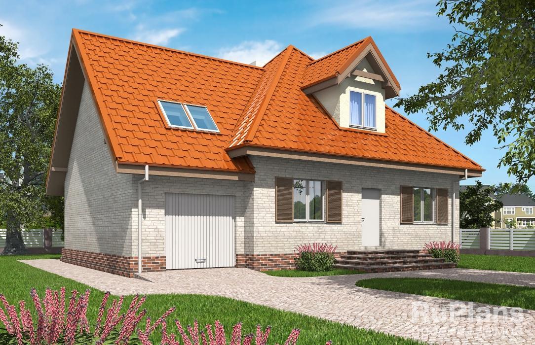 Rg5390 — план одноэтажного дома с мансардой и гаражом
