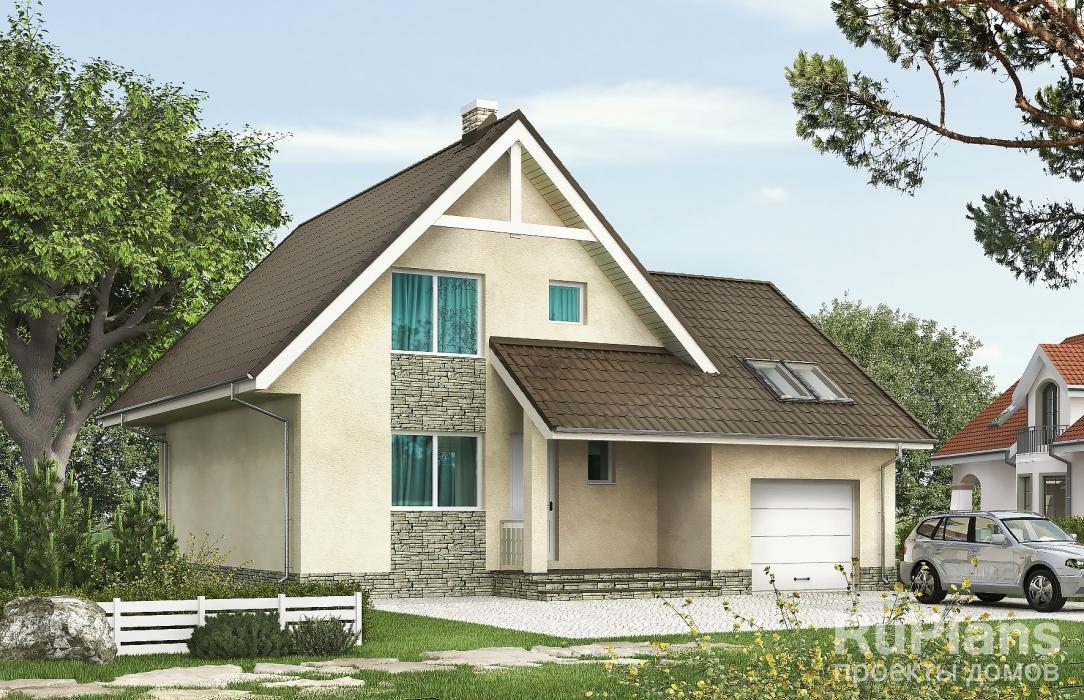 Rg5263 — проект одноэтажного дома с мансардой, гаражом и террасой