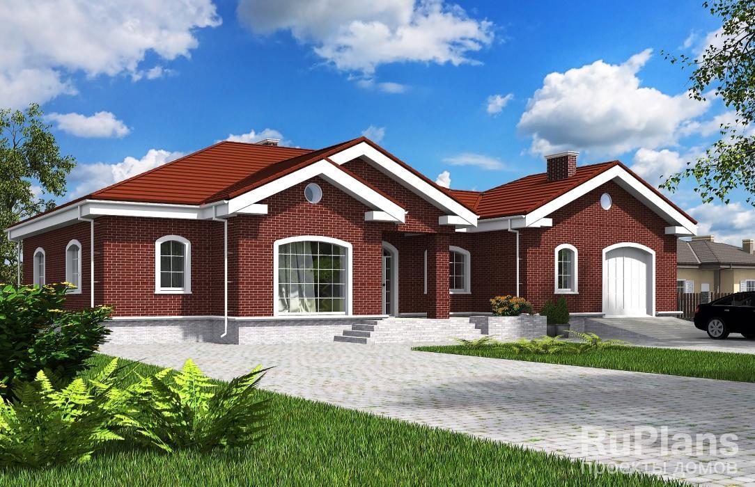 Rg5634 — проект одноэтажного жилого дома с террасами и гаражом