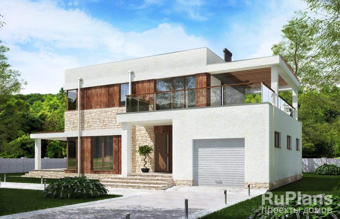 Rg5216 — проект двухэтажного дома с гаражом и террасами
