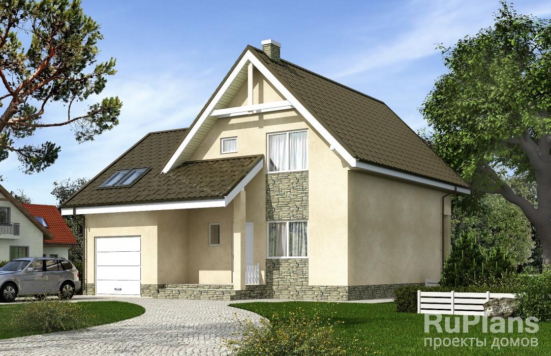 Rg5375 — проект одноэтажного дома с мансардой, террасой, балконом и гаражом