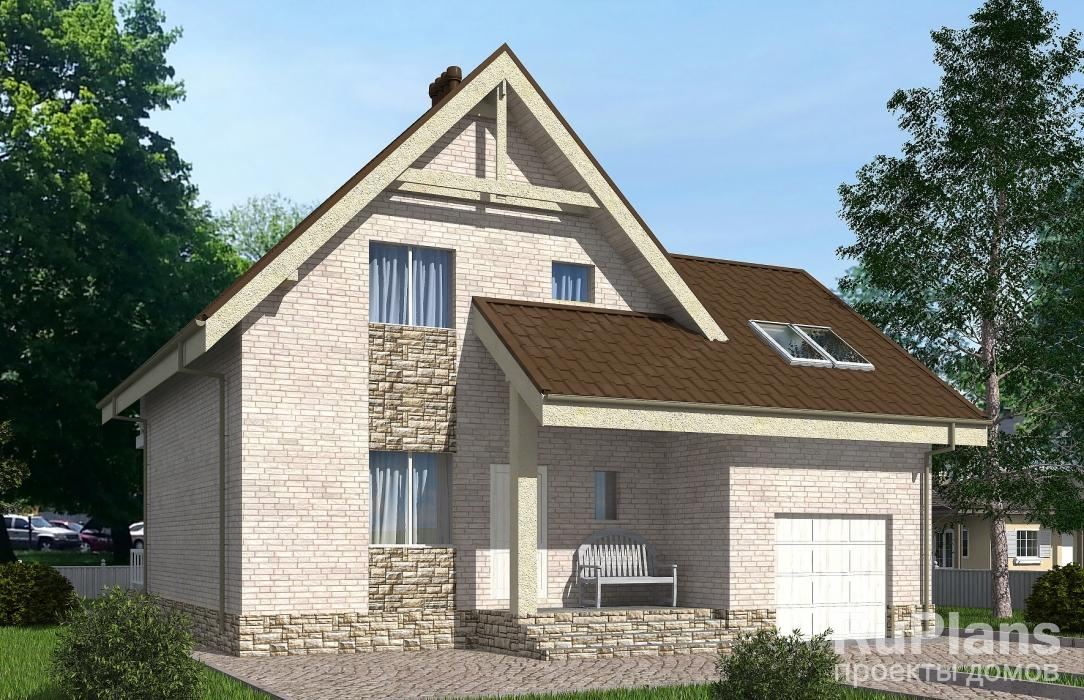 Rg5160 — проект одноэтажного дома с мансардой, террасой, балконом и гаражом