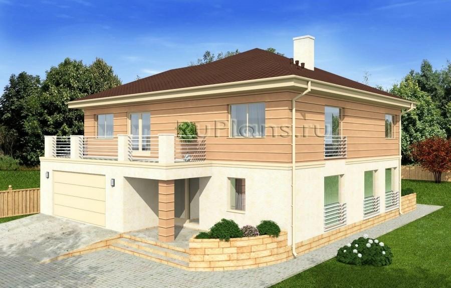 Rg4964 — проект двухэтажного дома с подвалом и гаражом на две машины
