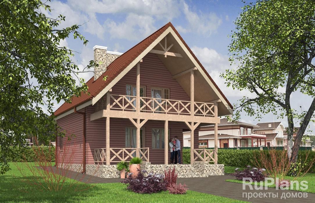 Rg5482 — проект одноэтажного дома с мансардой и террасой