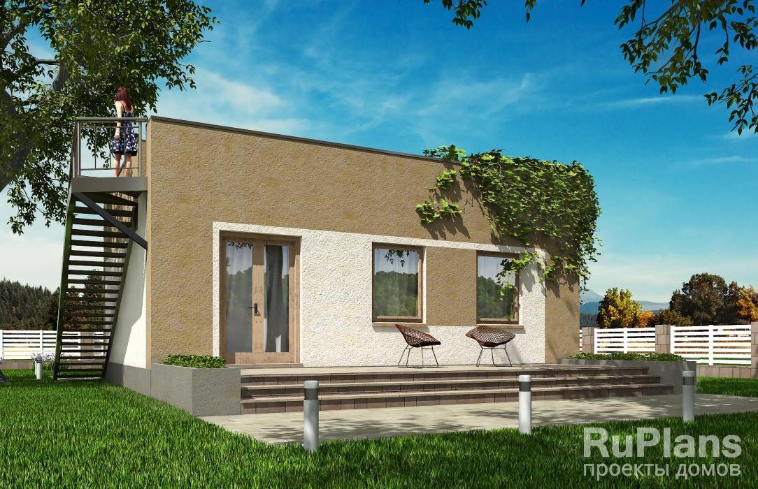 Rg5456 — проект одноэтажного дома с террасой и эксплуатируемой кровлей