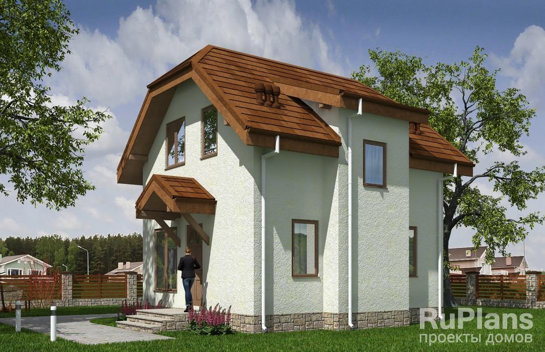 Rg5542 — проект одноэтажного дома с мансардой и террасой