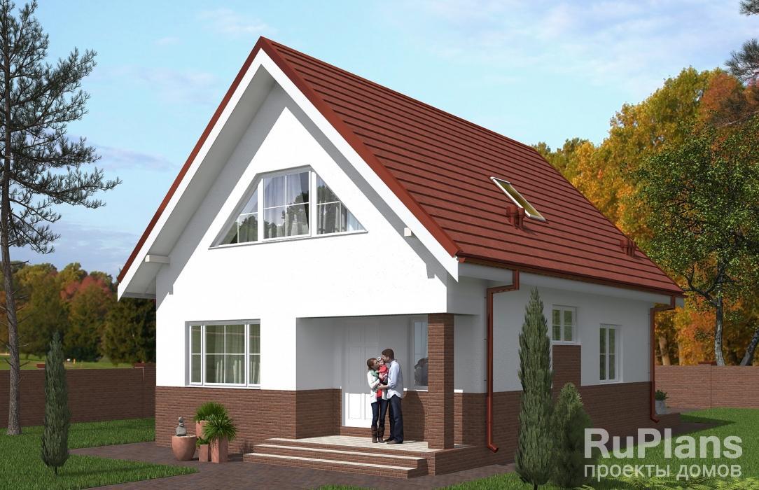 Rg5439 — проект одноэтажного дома с мансардой и террасой