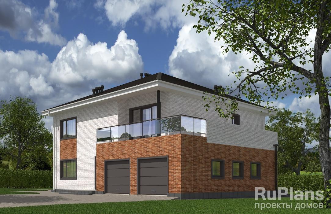 Rg5526 — проект двухэтажного дома с террасой и гаражом