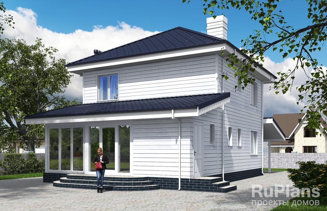 Rg5620 — проект двухэтажного дома с навесом и верандой