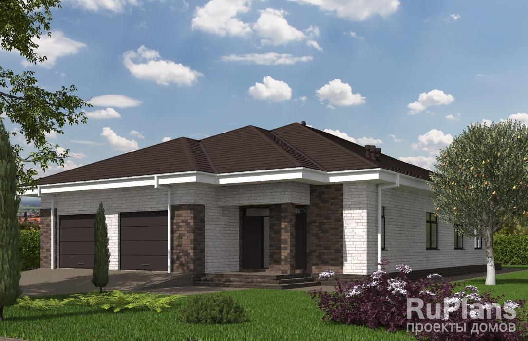 Rg5516 — проект одноэтажного дома с террасой и гаражом