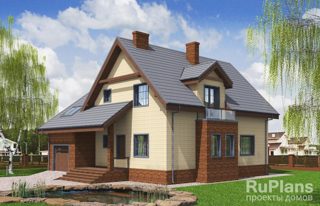 Rg5197 — проект одноэтажного дома с мансардой и гаражом