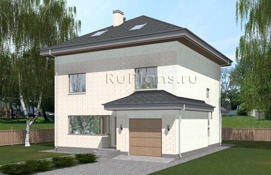 Rg5057 — проект двухэтажного дома с мансардой, подвалом и гаражом