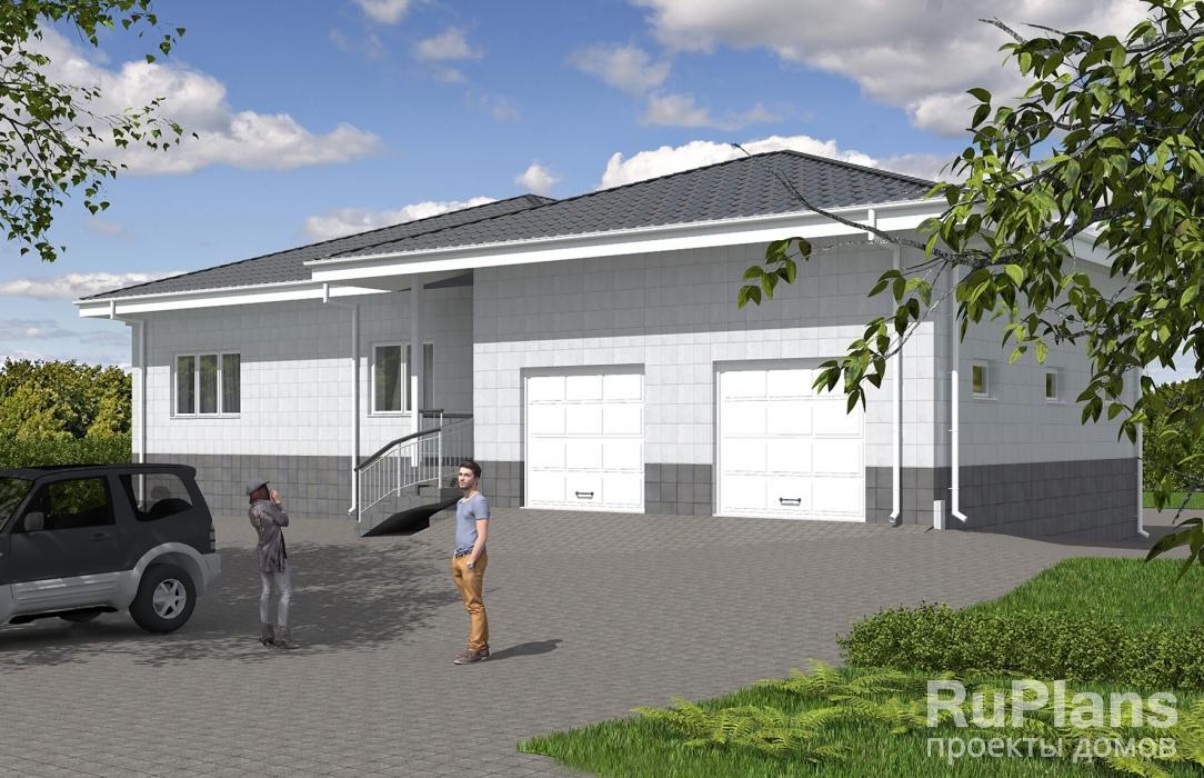 Rg5628 — проект одноэтажного дома с подвалом и гаражом