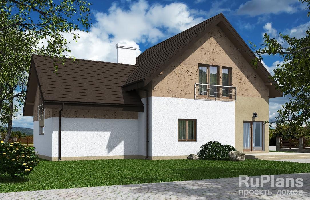 Rg5519 — проект одноэтажного дома с мансардой, террасой, гаражом и балконом