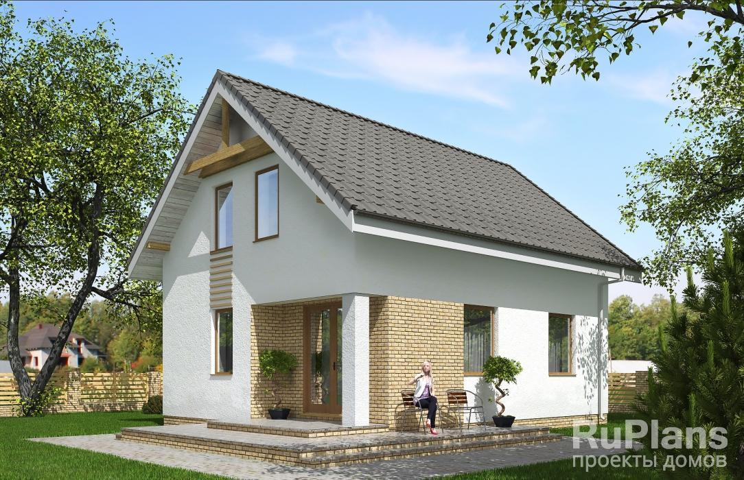 Rg5299 — проект одноэтажного дома с мансардой и террасой