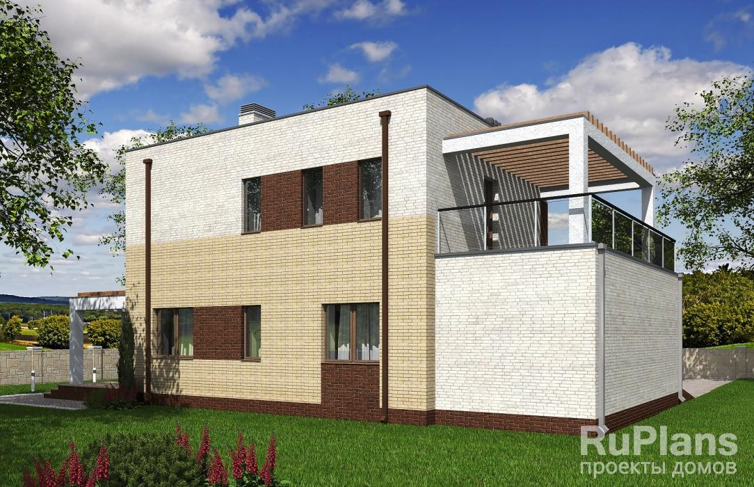 Rg5300 — проект двухэтажного дома с гаражом и террасами