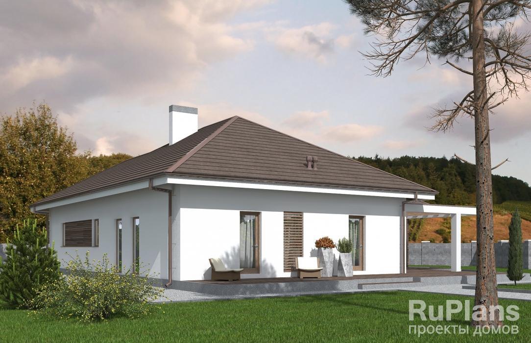 Rg5424 — проект одноэтажного дома с террасами и гаражом
