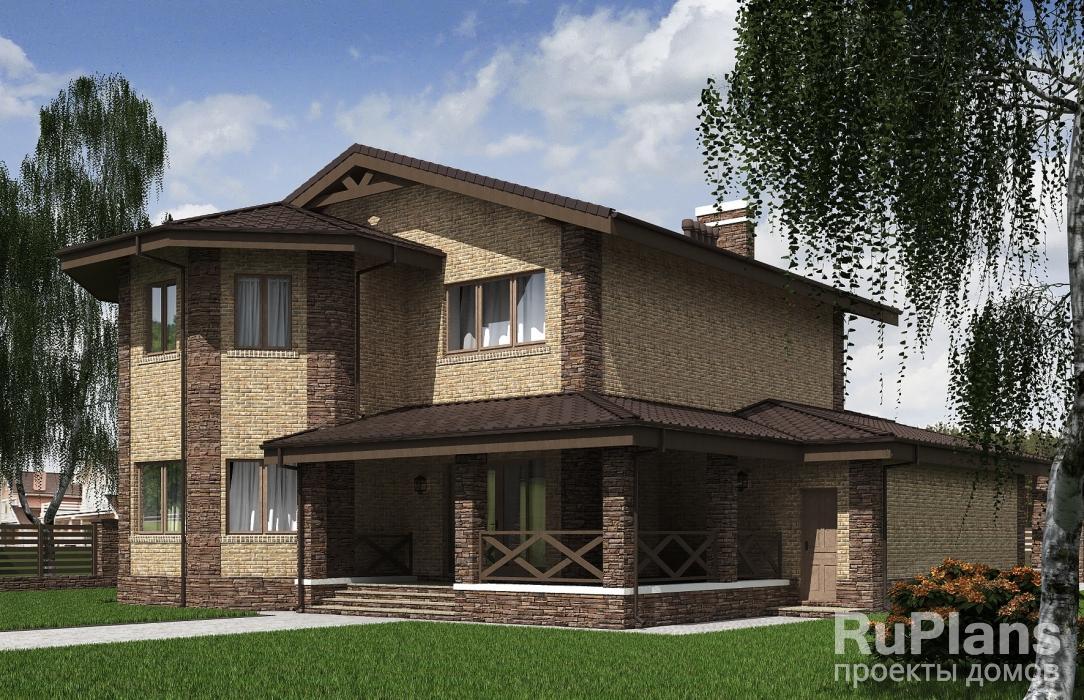 Rg5245 — проект двухэтажного дома с террасами и гаражом