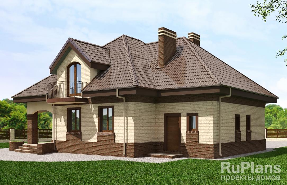 Rg4942 — проект одноэтажного дома с мансардой и террасой