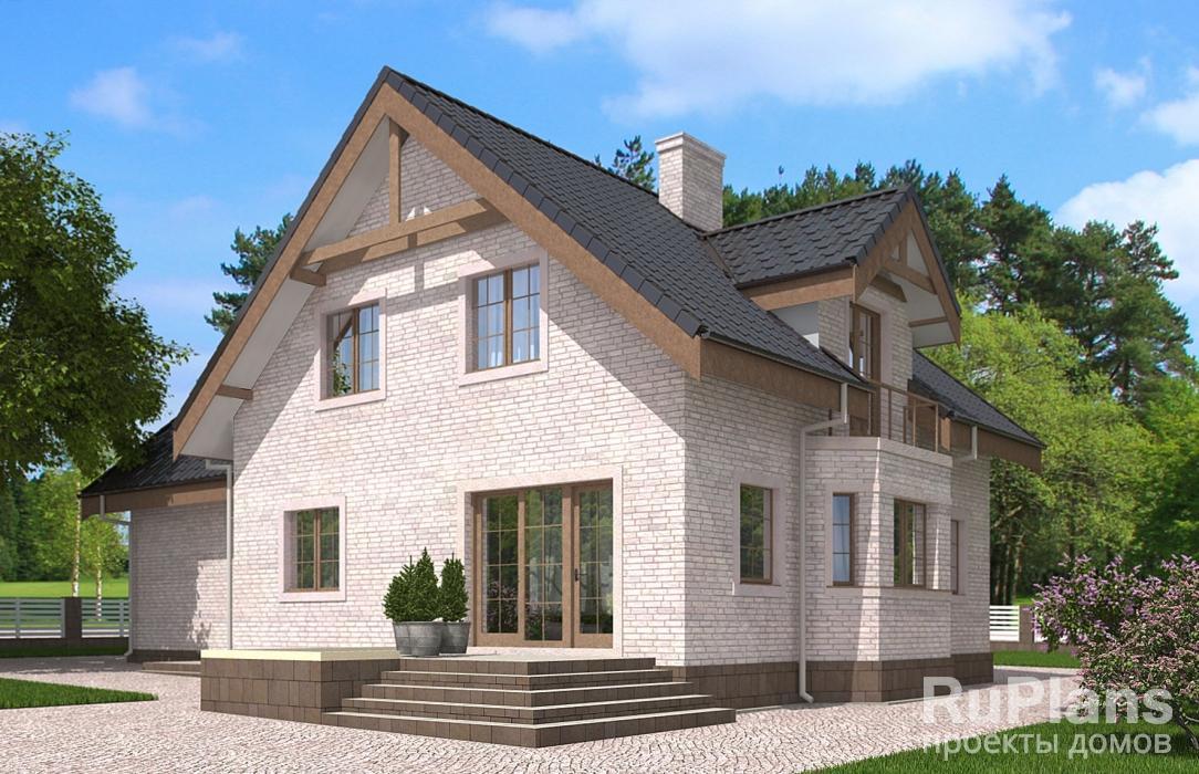 Rg5585 — проект одноэтажного дома с мансардой, гаражом, террасой и балконом