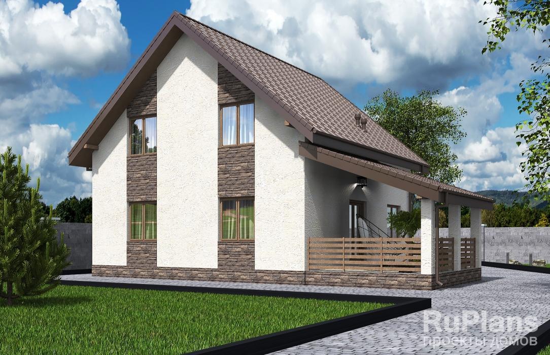 Rg5592 — проект одноэтажного дома с мансардой и террасой