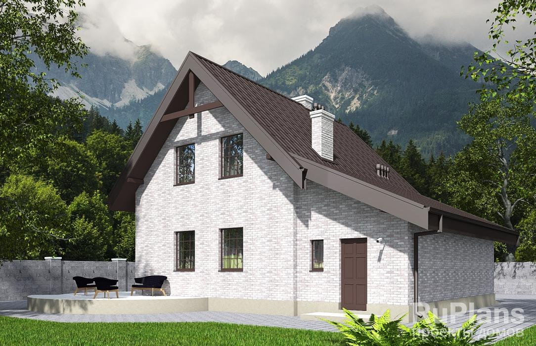 Rg5631 — проект одноэтажного дома с мансардой, гаражом, эркером и балконом