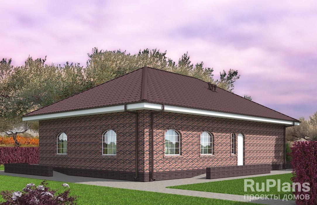 Rg5479 — проект одноэтажного дома с террасой и гаражом