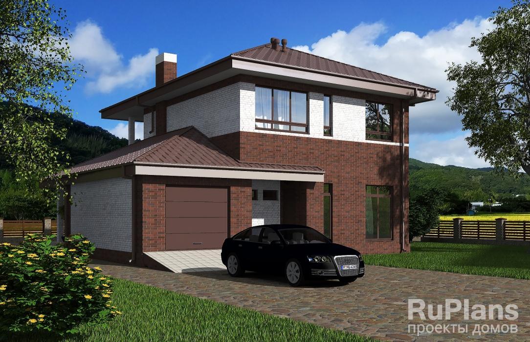 Rg5497 — проект двухэтажного дома с гаражом, террасой и балконом