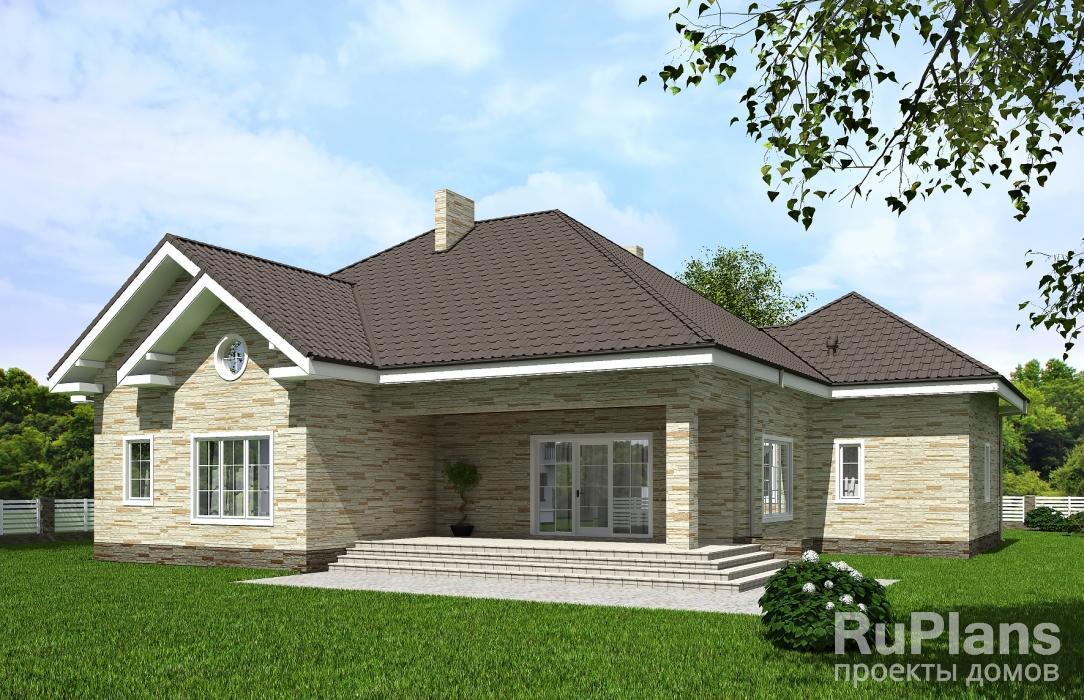 Rg5614 — проект одноэтажного дома с мансардой и террасой