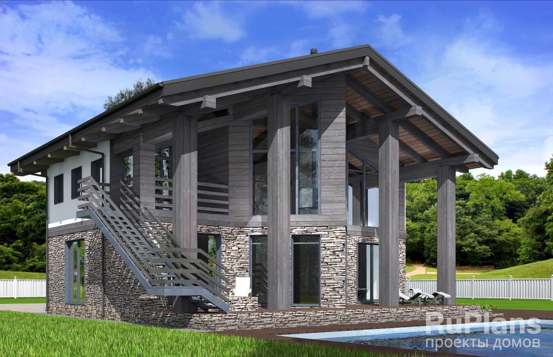 Rg5089 — проект одноэтажного дома с мансардой и террасой
