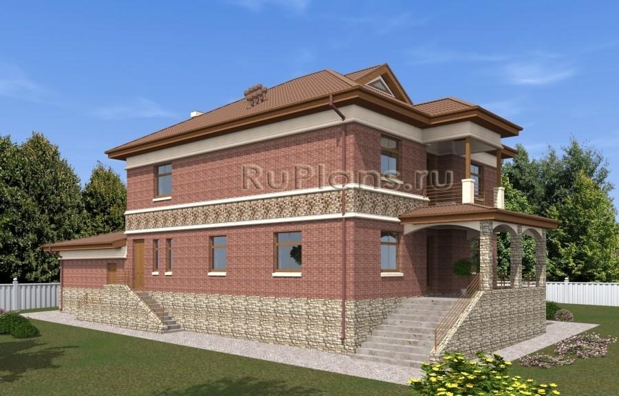 Rg5016 — проект двухэтажного дома с подвалом, мансардой и гаражом