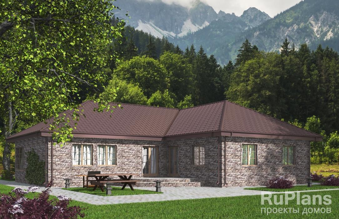 Rg5406 — проект одноэтажного дома с гаражом и террасой