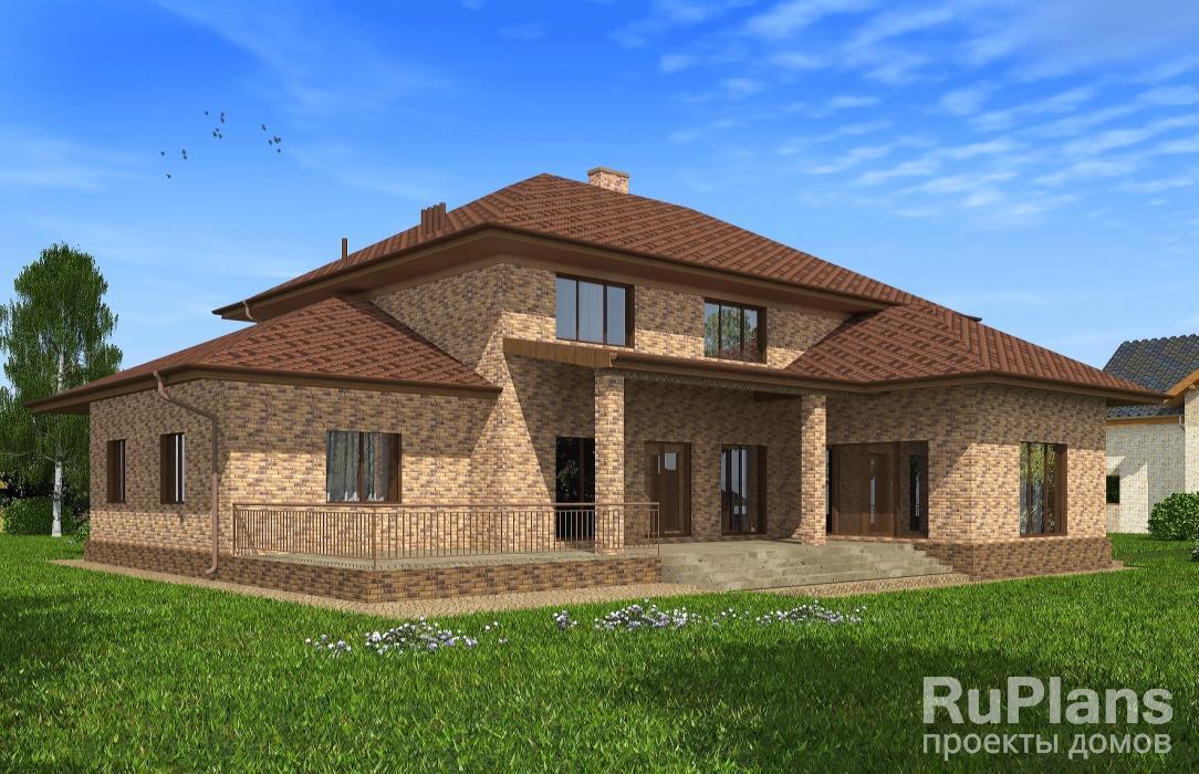 Rg5114 — проект двухэтажного дома с гаражом, бассейном и террасой